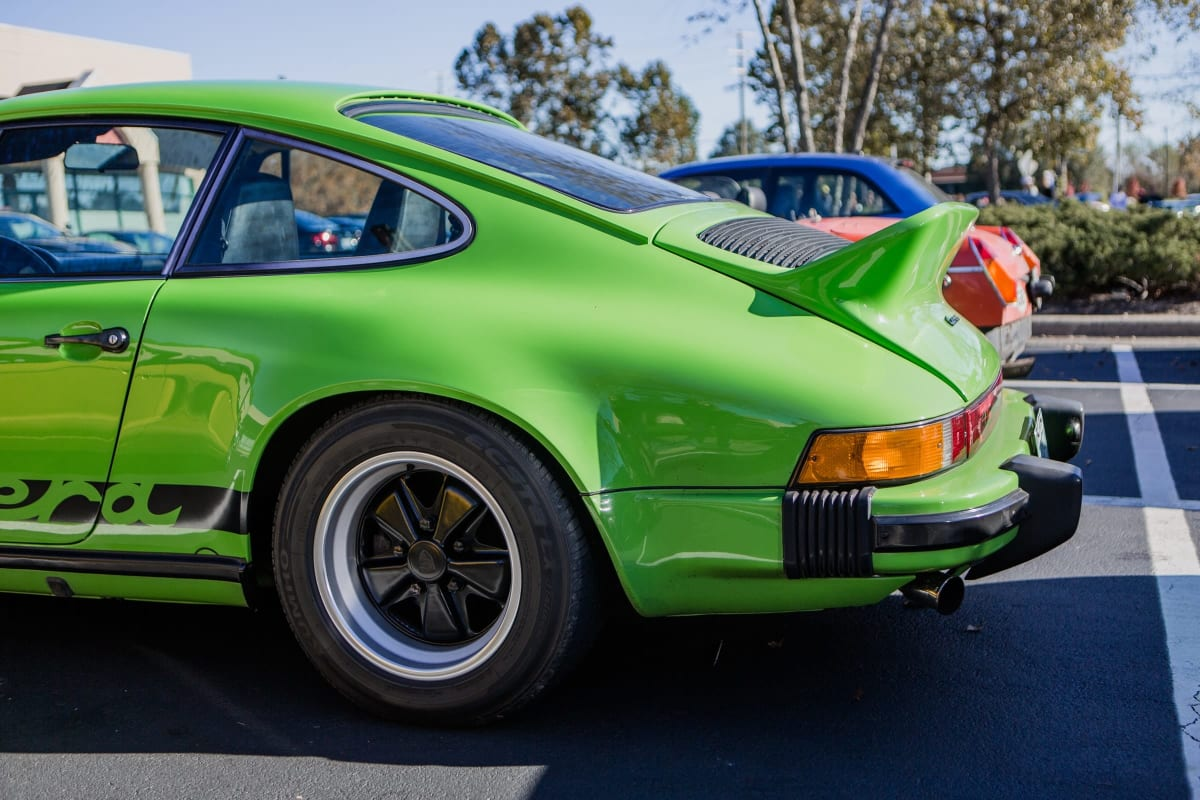 green porsche carrera car show. car attractions in los angeles.