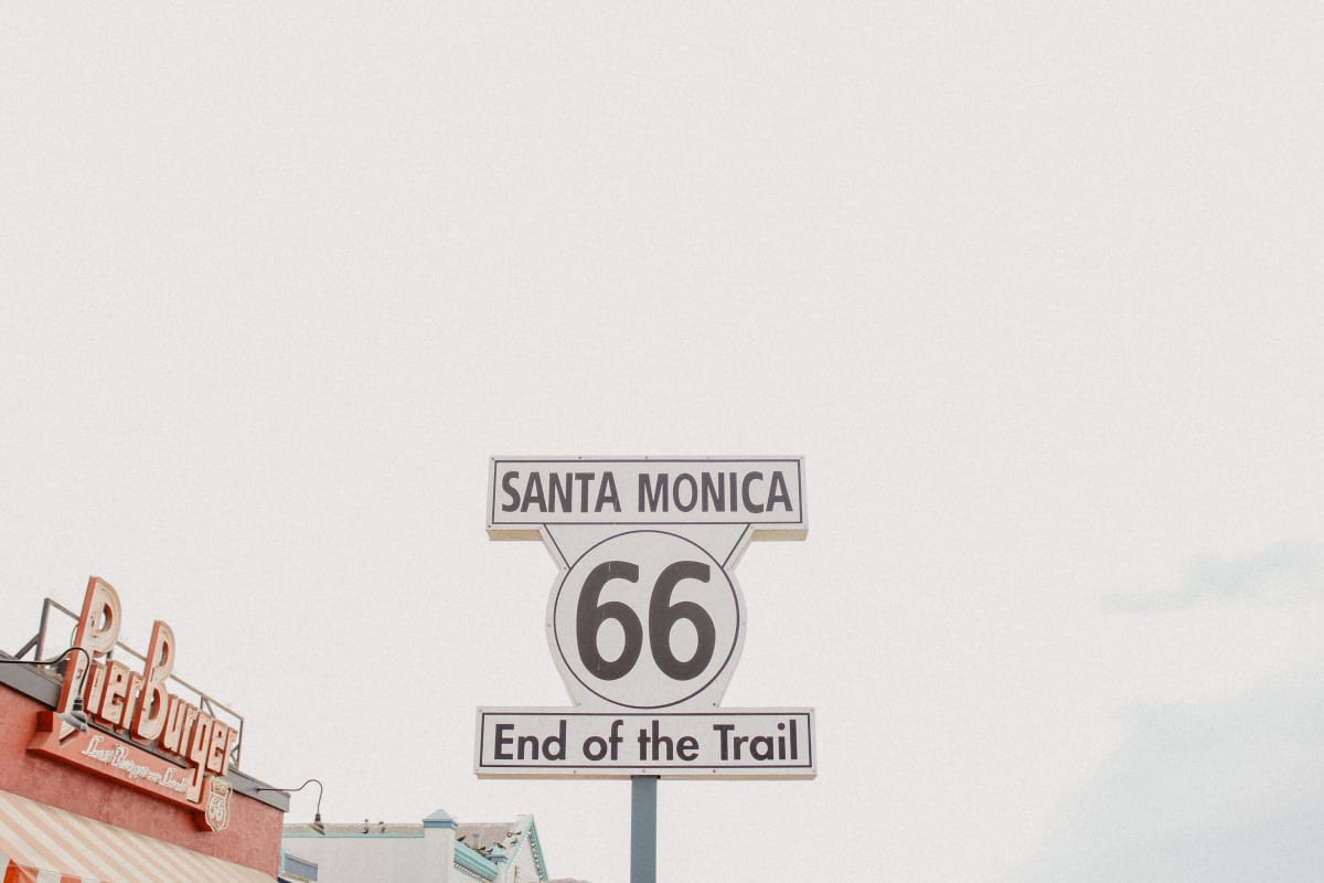 The iconic sign that signifies you've reached the end of the Mother Road. Photo by Madeline Ragsdale.  car attractions in los angeles.