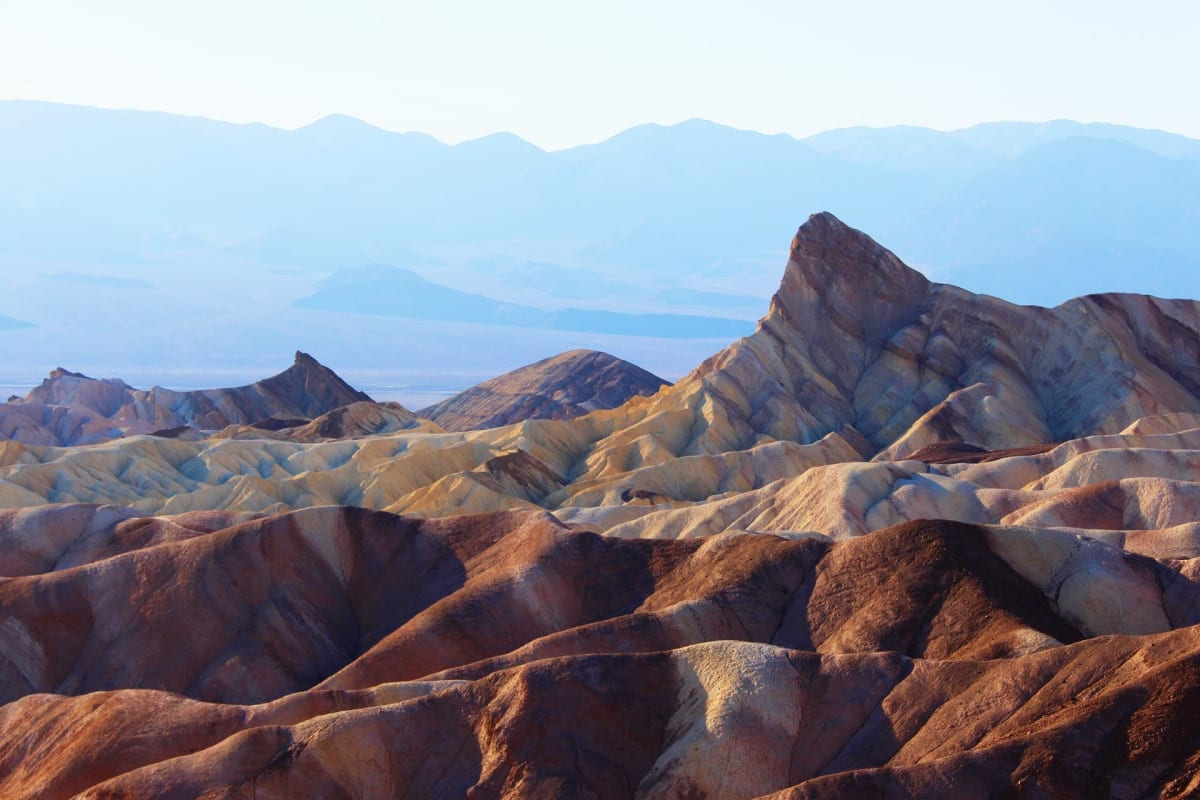 Death Valley National Park near Los Angeles. The rainbow-colored sand dunes of Artist's Palette, a very recognizable area within the national park.