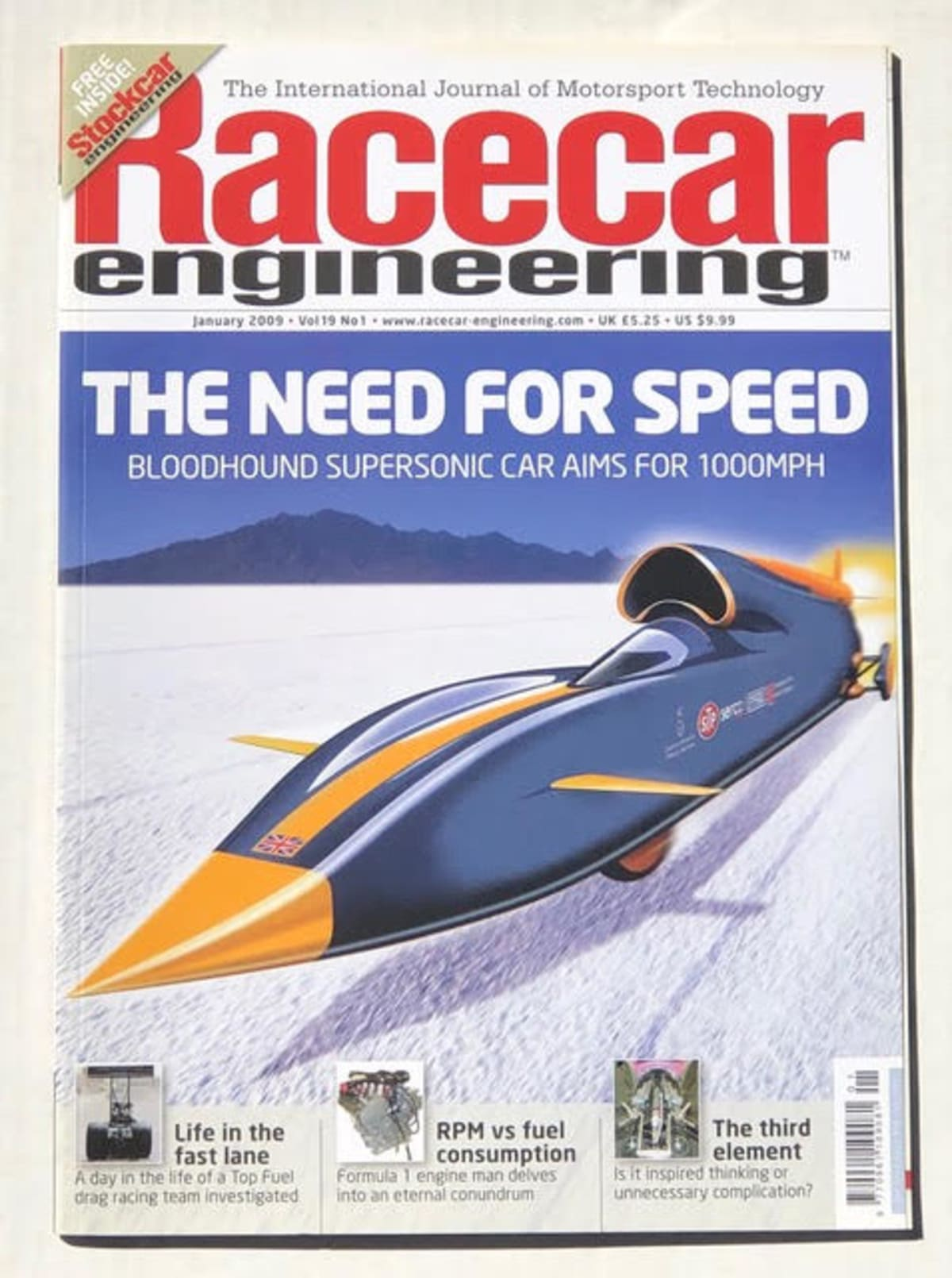 The Bloodhound in 2009 graces the cover of this magazine, covering its quest for 1,000 mph.