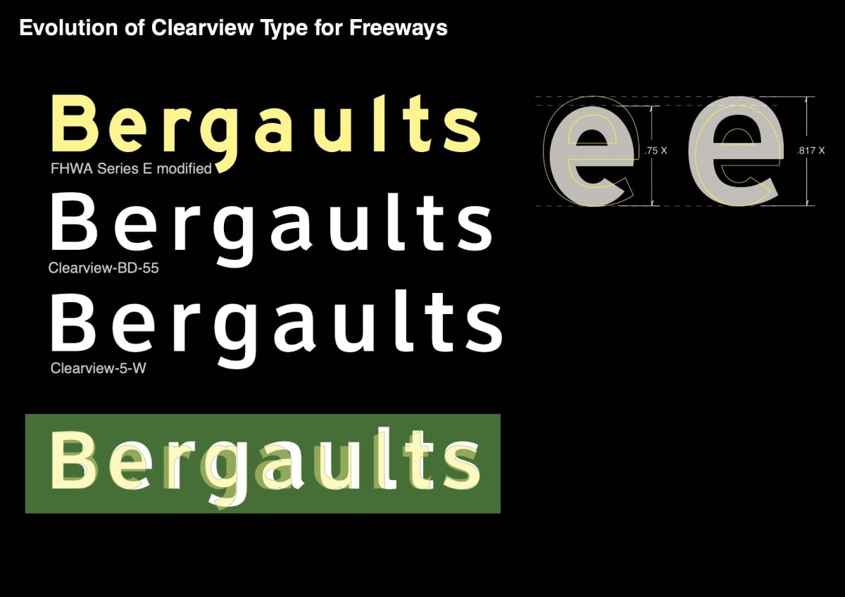 image showing the evolution of Clearview Typeface for freeways