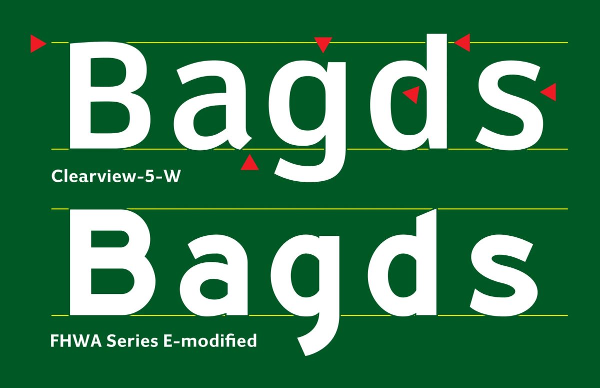 Comparison of the two typefaces: Clearview-5-W and FHWA Series E-modified