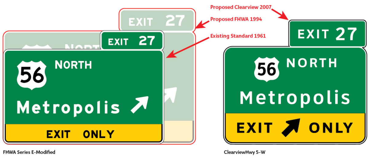 picture of two highway signs comparing the FHWA Series E, also known as the Highway Gothic font, with the Clearview Font.