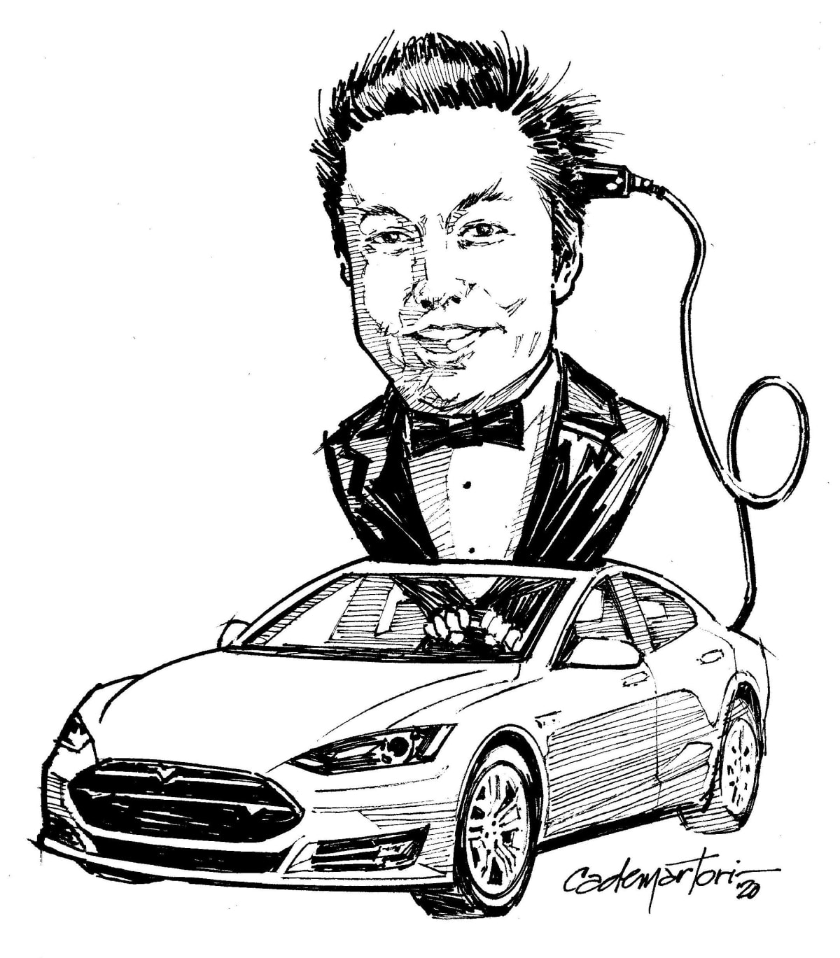 Hector's artwork featuring Elon Musk with a power cable in a Tesla Model S