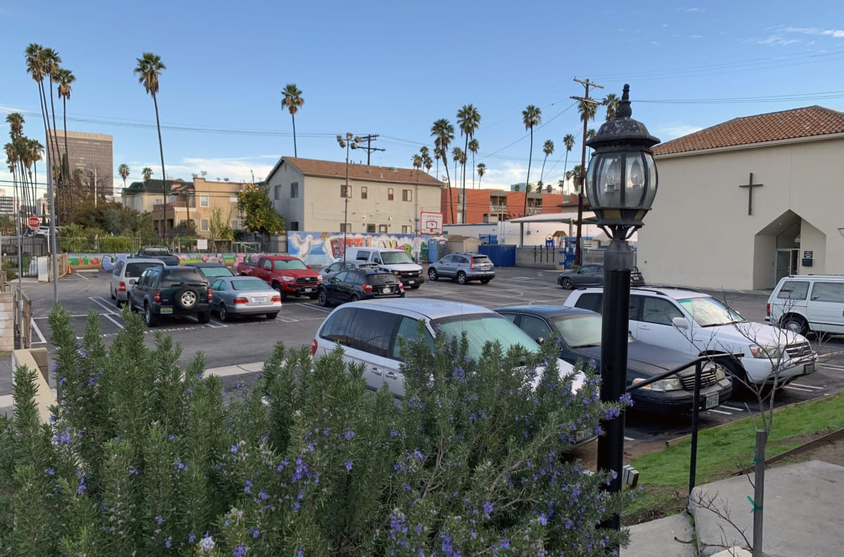 St Mary's Episcopal Church in Los Angeles' Koreatown is a major partner in the Safe Parking LA program. Photograph by Roy Nakano
