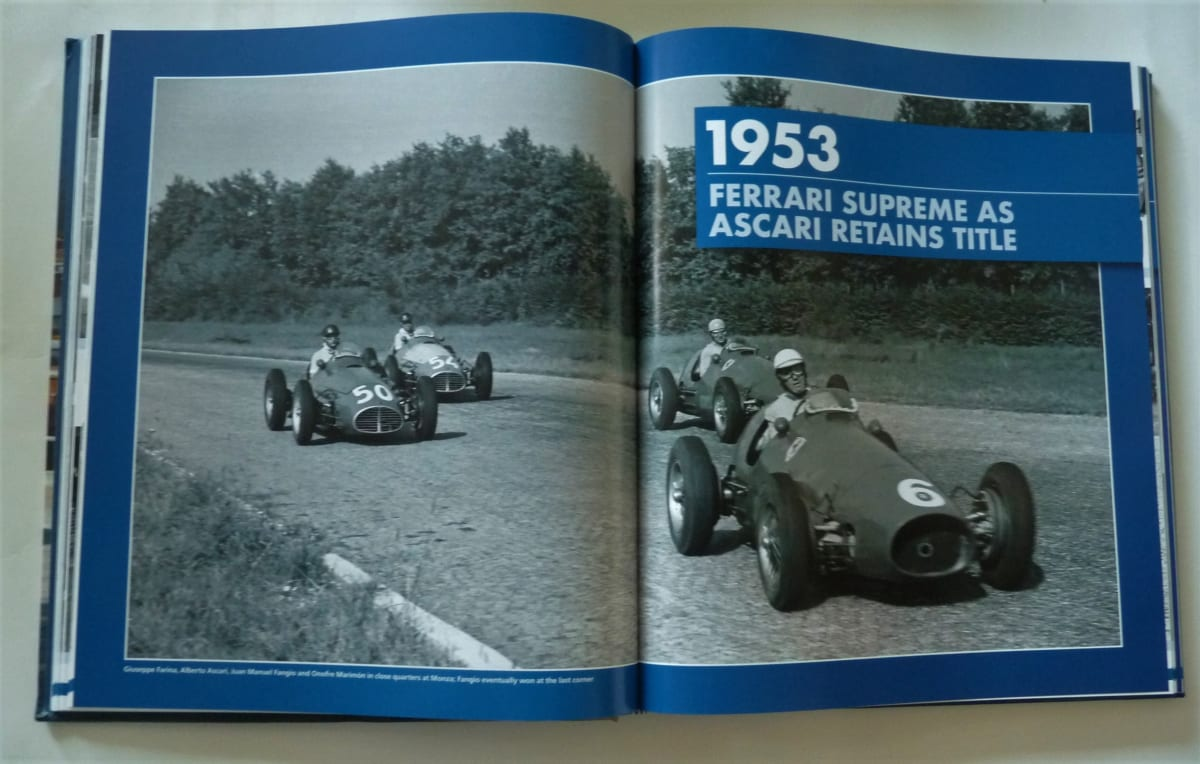 An example of a full spread photo in 'Formula 1: Car by Car 1950-59