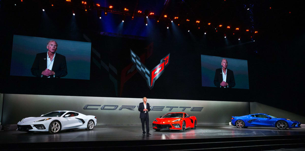 Corvette Executive Chief Engineer Tadge Juechter introduces the 2020 Chevrolet Corvette Stingray Thursday, July 18, 2019 in Tustin, California. (Photo by Dan MacMedan for Chevrolet)