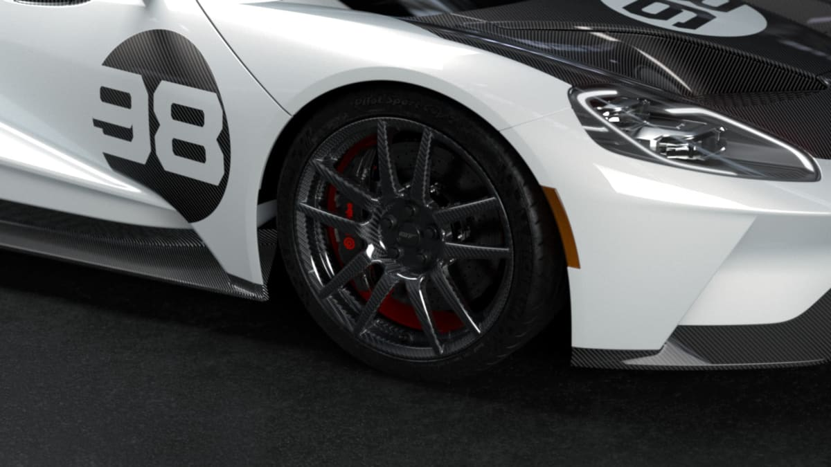 2021 Ford GT Heritage Edition with the Heritage Upgrade Package 20-inch carbon fiber wheels.