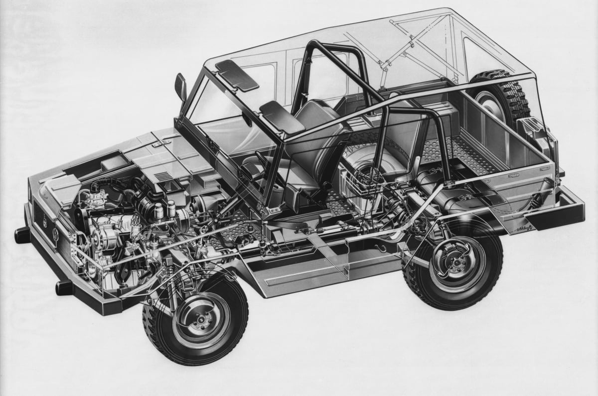 The Volkswagen Iltis had an extraordinary 4-wheel-drive system that was later adapted for the Group B Quattro - yes that one.