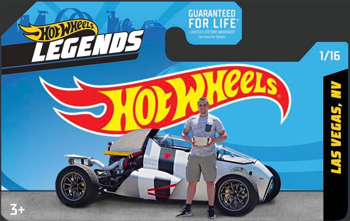 """Photo courtesy of Hot Wheels. Competition winner Luis Rodriguez in front of his """"2 Jetz"""" build."""