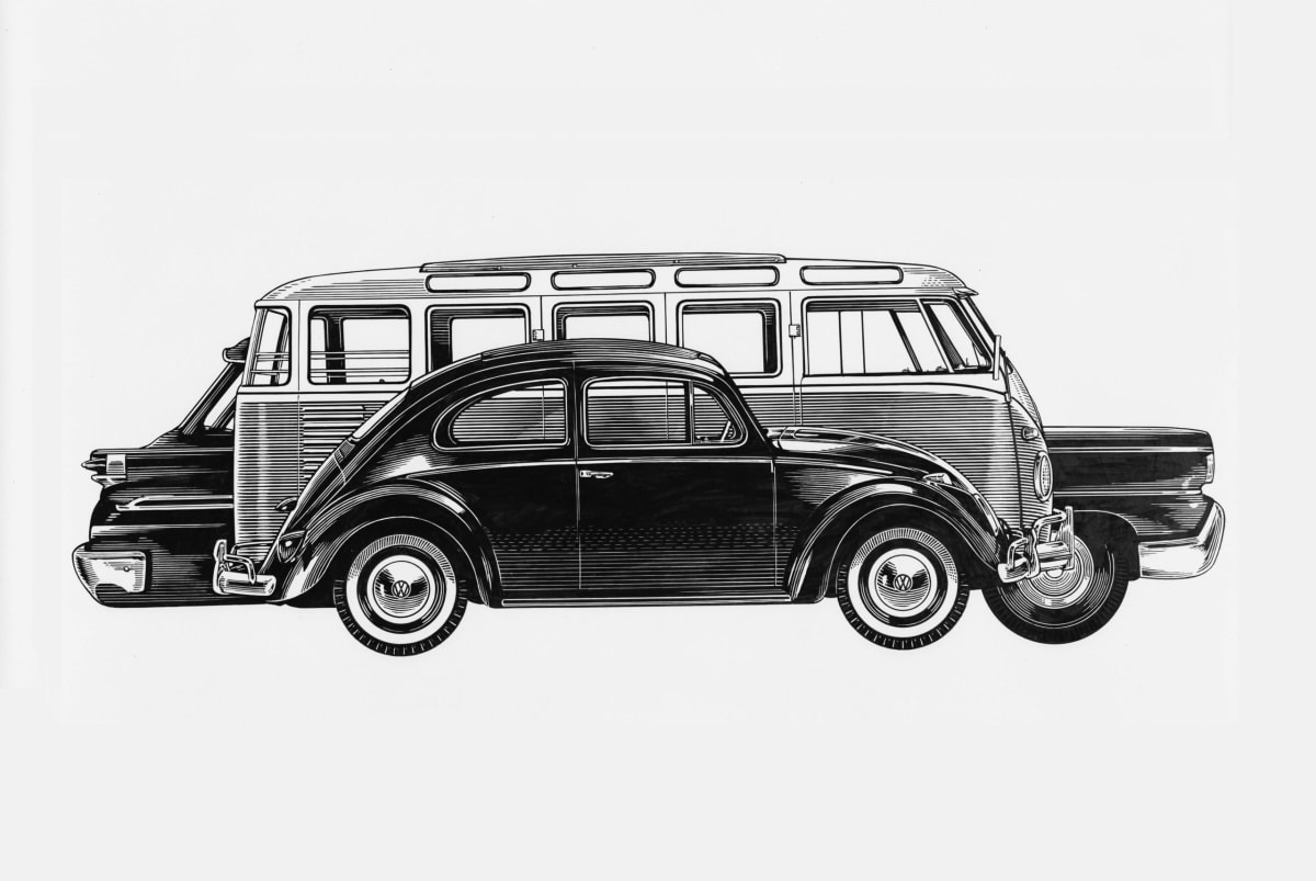 Volkswagen Beetle and Bus size comparison