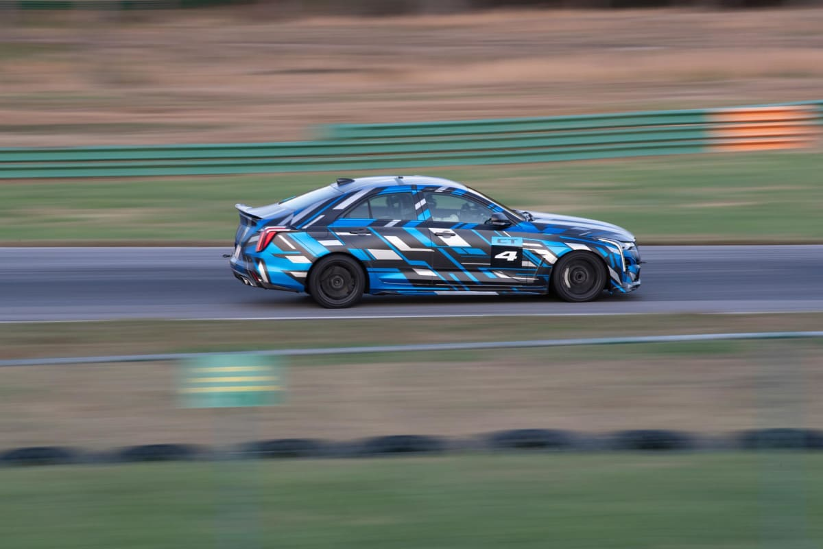 This spy shot of the CT4-V Blackwing shows the high-performance sedan putting in work at the track.