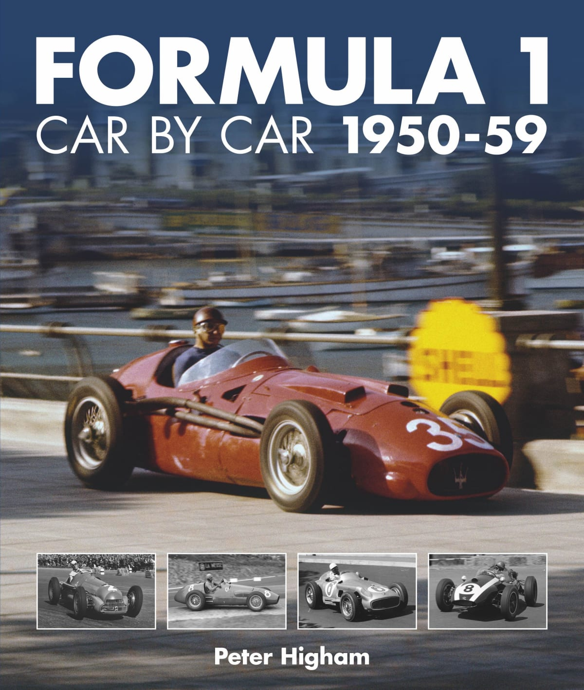 Formula 1: Car by Car 1950-59 cover featuring the legendary Fangio