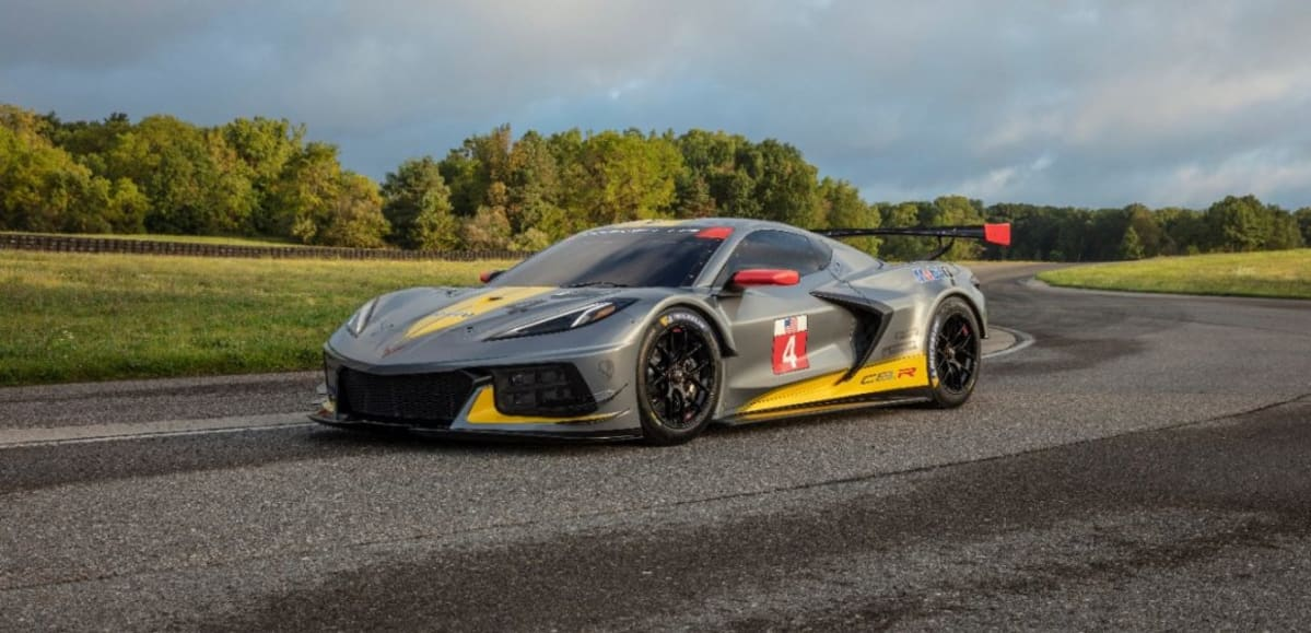 The new mid-engine Corvette race car, known as the C8.R.