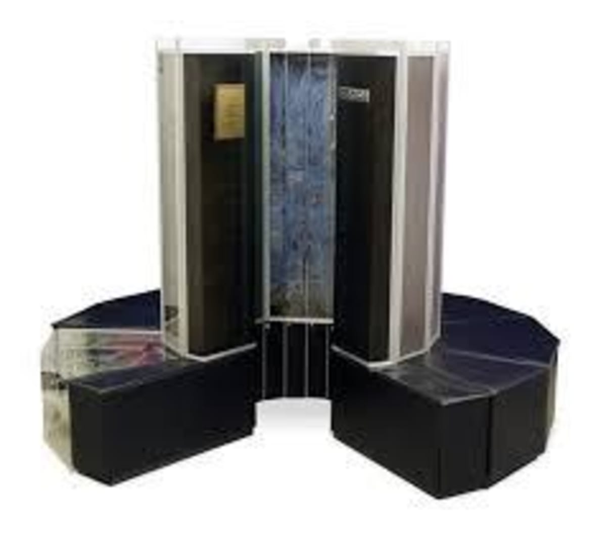 The very distinctive design of the Cray-1. At a cost of $8.8 million the first one was installed at Los Alamos National Laboratory in 1976. It was capable of 160 million floating-point operations per second (160 megaflops) and an 8 MP (1 million word) main memory.