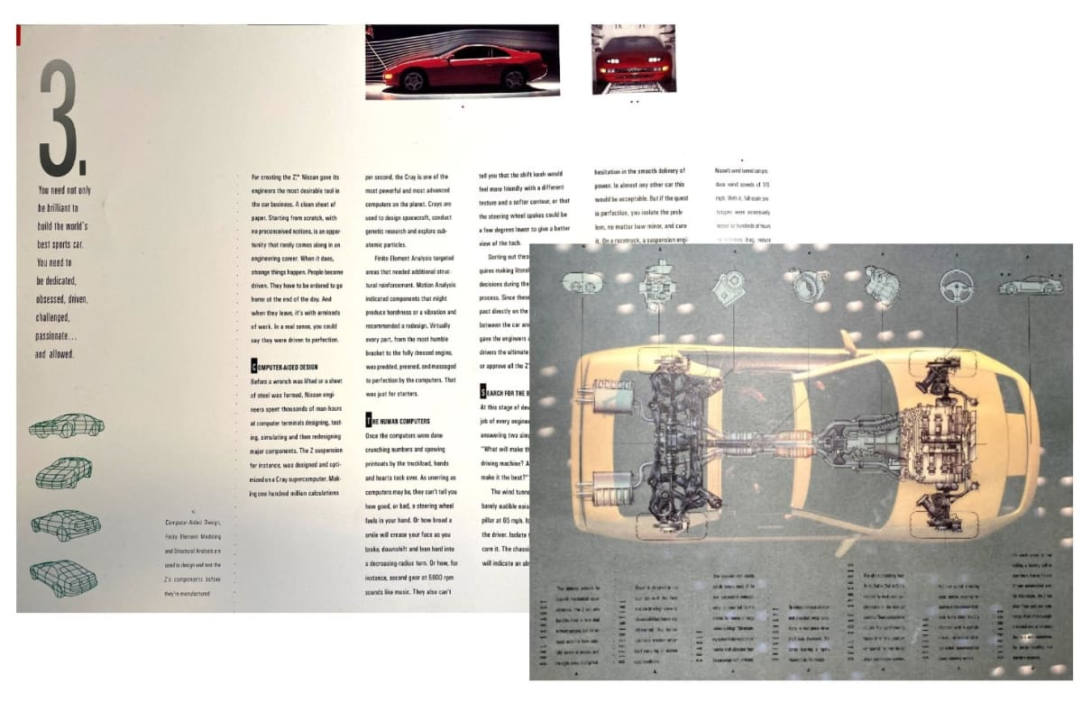 "The 300ZX emphasizes the use of a supercomputer in the design of the car components.""Making 100 million calculations per second, the Cray is one of the most powerful and most advanced computers on the planet"" -reads in part. NIssan was the first Japanese auto maker to buy one: an X-MP 12 in 1985."