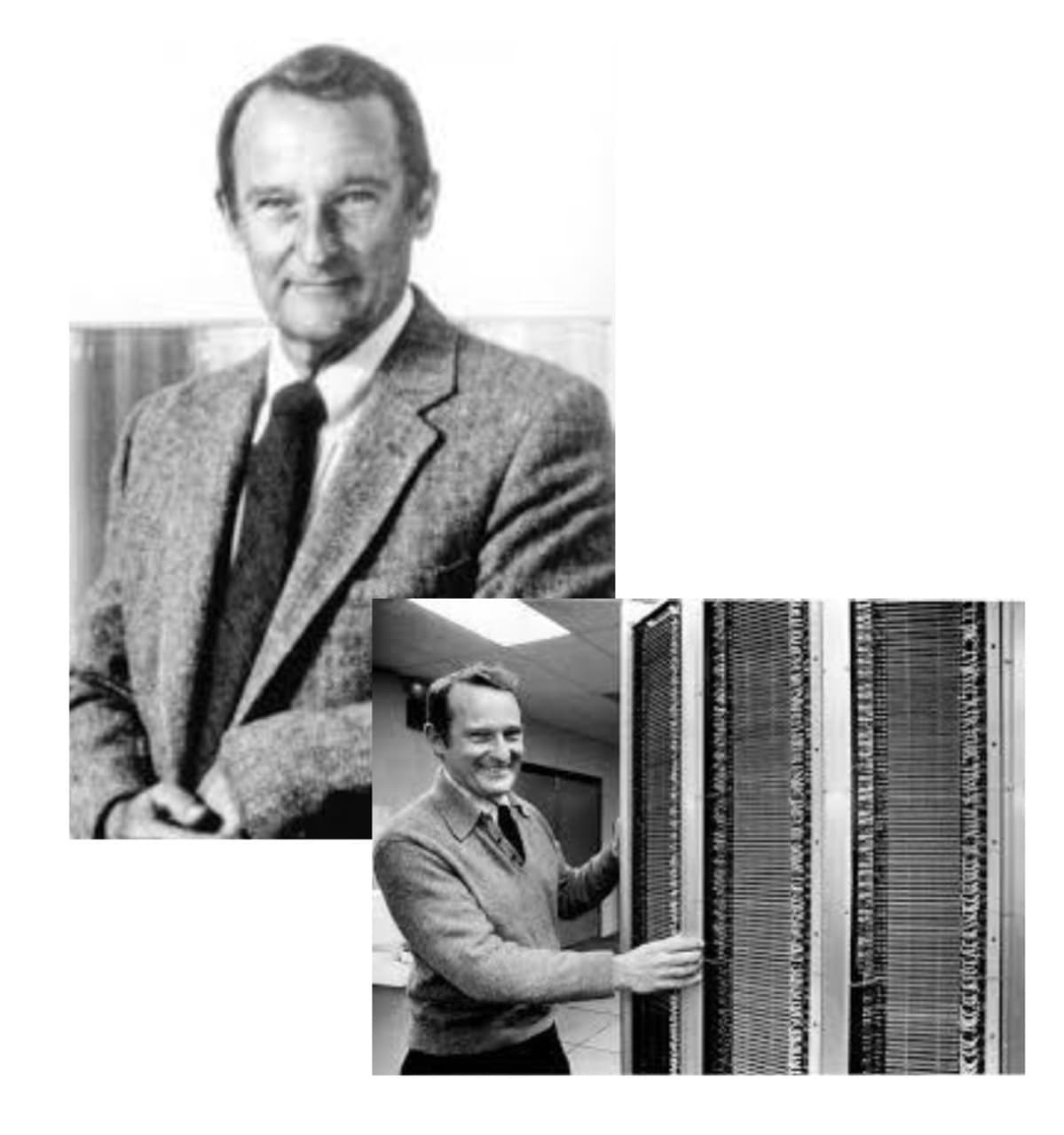 Seymour Cray (1925-1996) the father of the supercomputer. In the insert with his baby, the Cray-1.