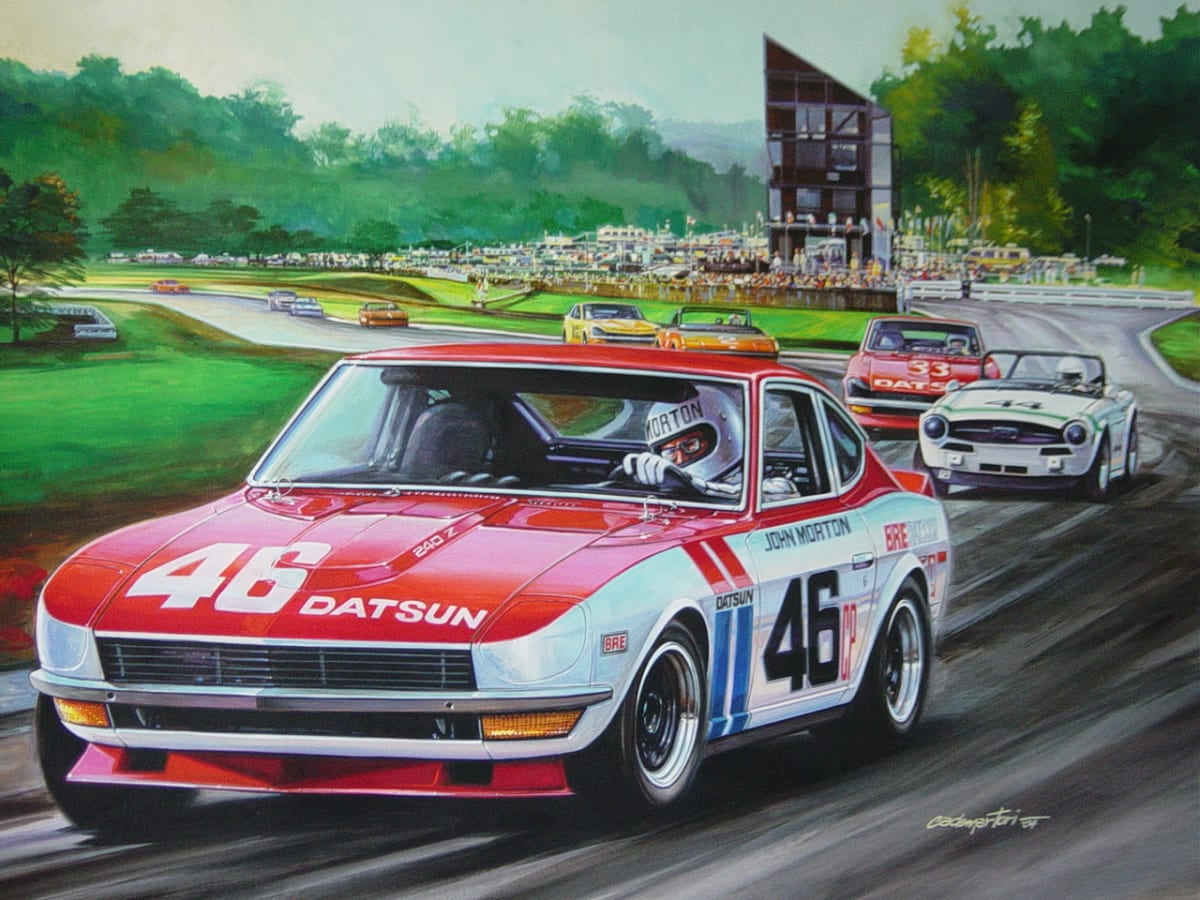 John Morton and his BRE Datsun 240Z attacked the asphalt and red clay of Road Atlanta in far-off 1970 to win Datsun's first SCCA C Production title. (Painting by Hector Cademartori)