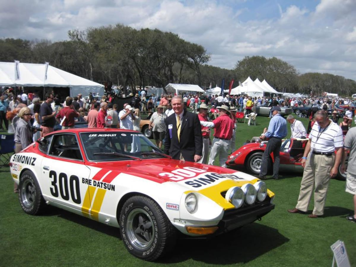 2009. Peter Brock with #300, the first time a Datsun 240Z was invited to the prestigious Amelia Island Concours D'Elegance.