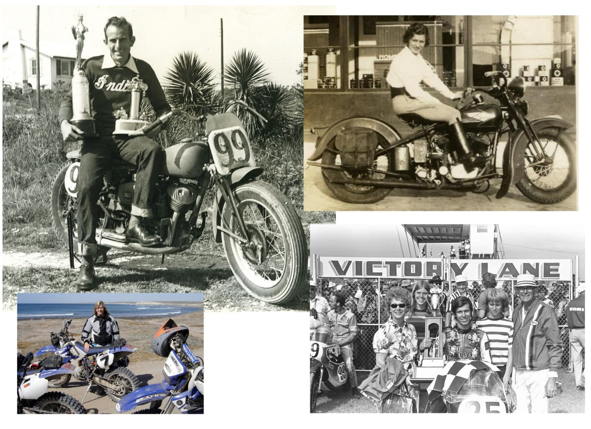 Floyd Emde with his 1948 Daytona 200 trophies (Top Left). Don celebrates his 1972 Daytona 200 victory with his mother Florence, younger sister Nancy, younger brother David and his father Floyd (Bottom Right). Nancy Emde was a racer and had a touring business taking tourist to Baja California (Bottom Left). Don's Mother, Florence, was an avid rider. Here looking splendid on a 1930s Harley-Davidson (Top Right).