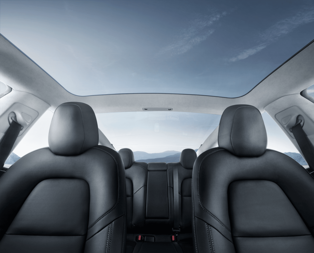 Every version of the Tesla Model 3 comes with the overhead glass roof (Timothy Artman)