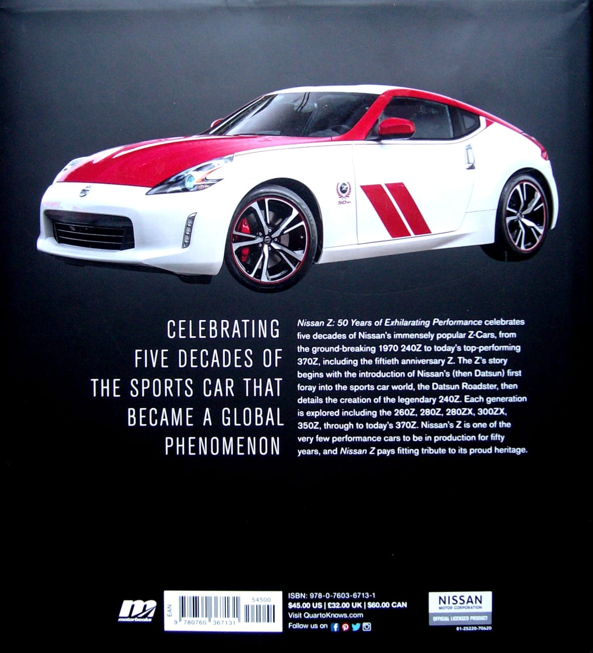 The back cover of 'Nissan Z - 50 Years of Exhilarating Performance'.
