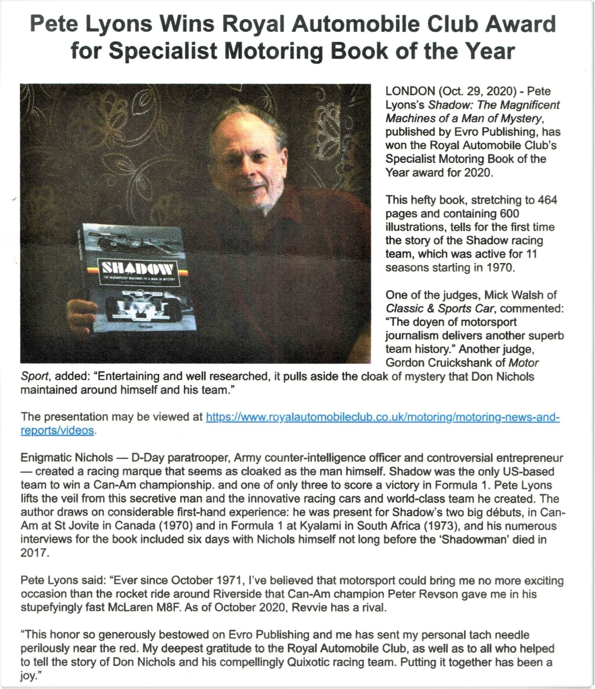Pete Lyons wins Royal Automobile Club Award for Specialist Motoring Book of the Year