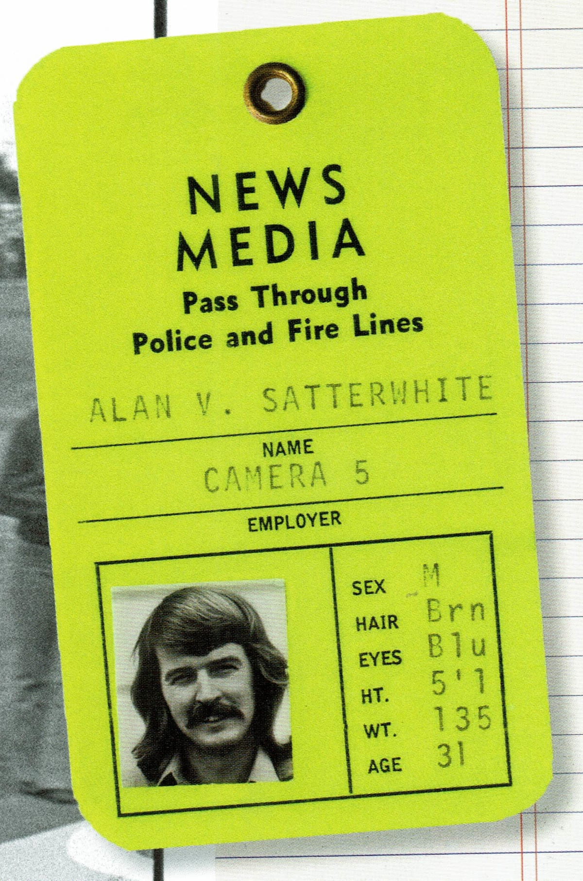 News Media pass for the author, Al Satterwhite.