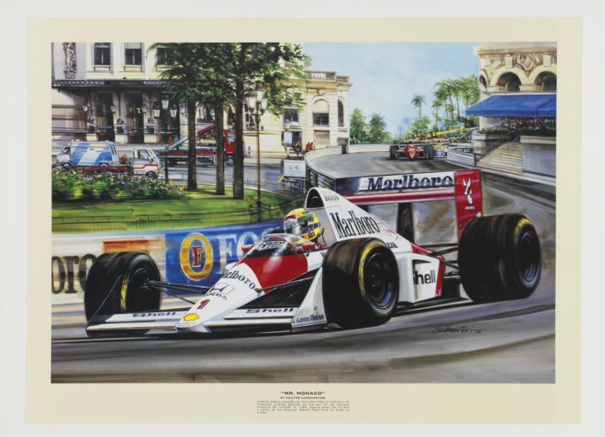 """""""Mr. Monaco"""" - Ayrton Senna at Monaco Limited Edition Print by Hector Cademartori. Photo courtesy of Hector Cademartori Motor Racing Art"""