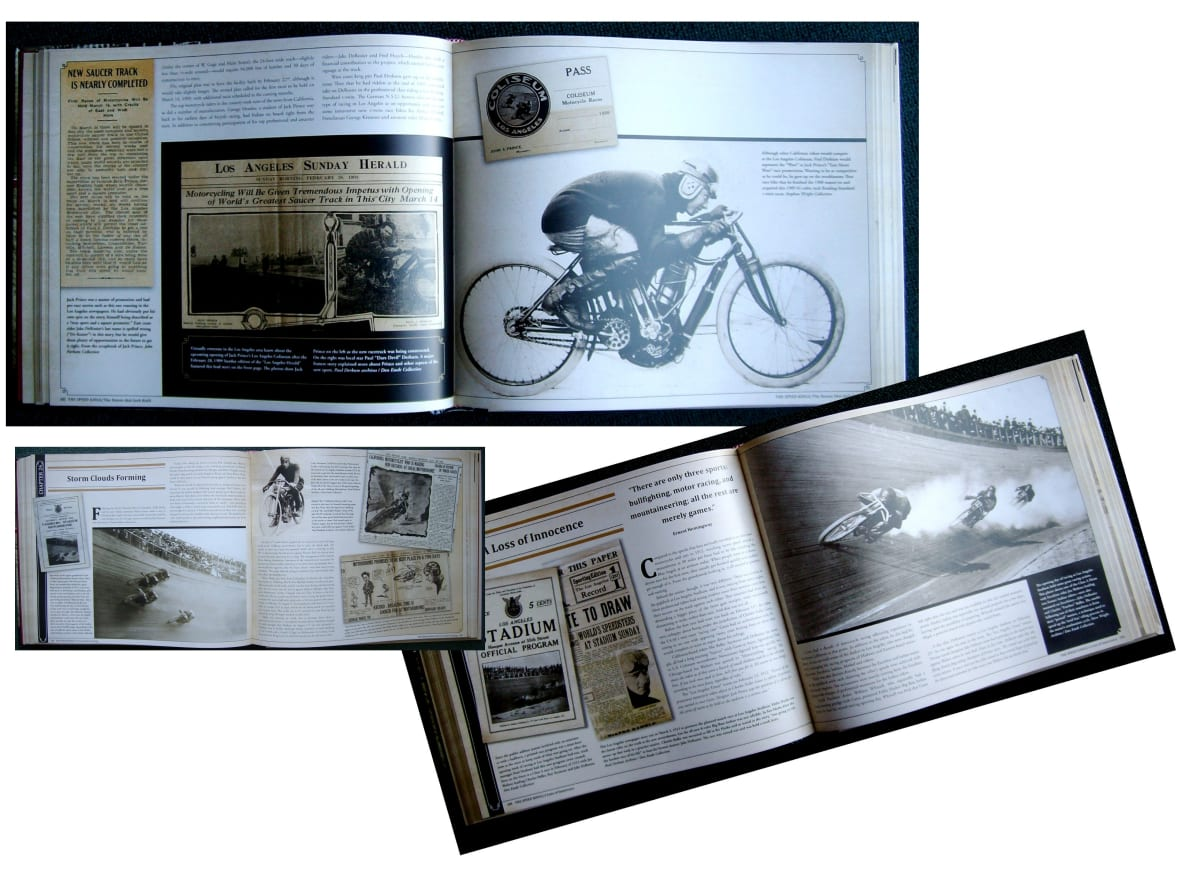 Photos, newspaper clips, posters, programs, personal letters and a wealth of memorabilia from Don's collection and other sources fill the pages of The Speed Kings. The copy describes the social, economic, personal and political times around the brutal practice of Motordrome racing.