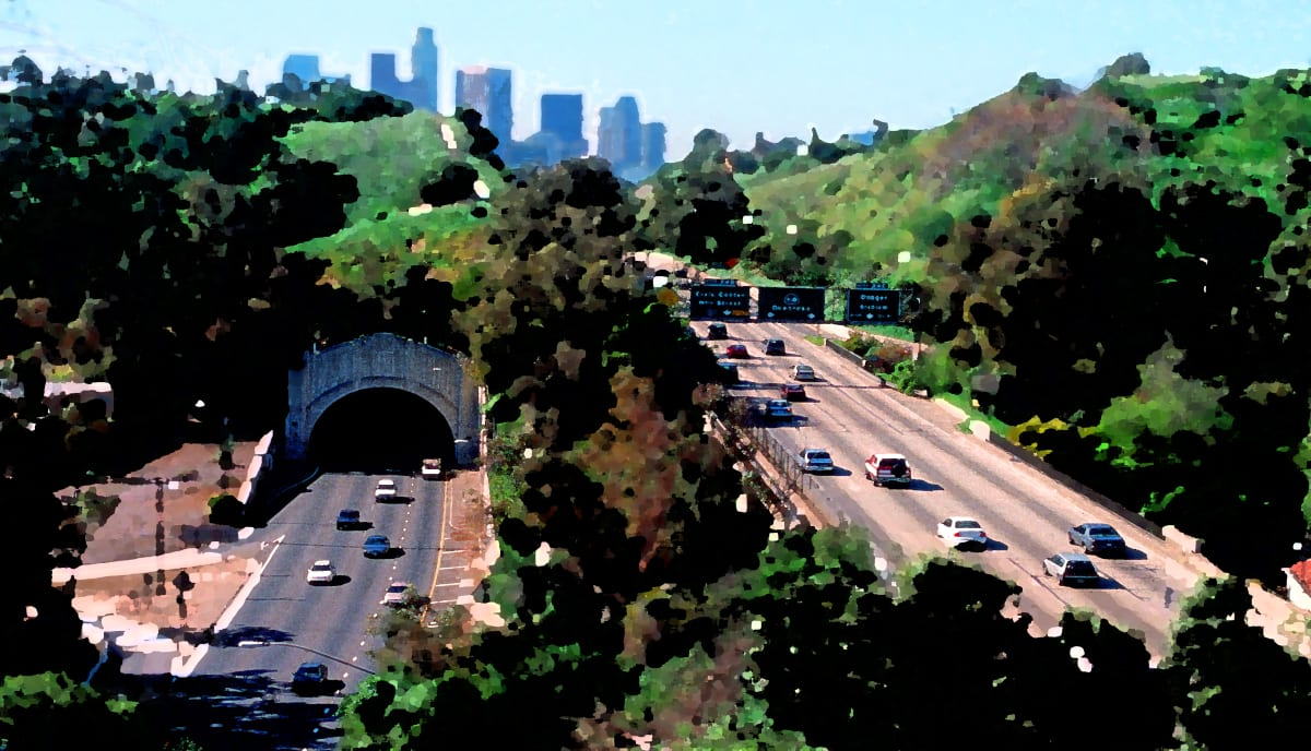 The Arroyo Seco Parkway through Elysian Park (brushed palette artwork derived from a photograph by Steve Devorkin, Caltrans for National Scenic Byways Online, in the public domain)