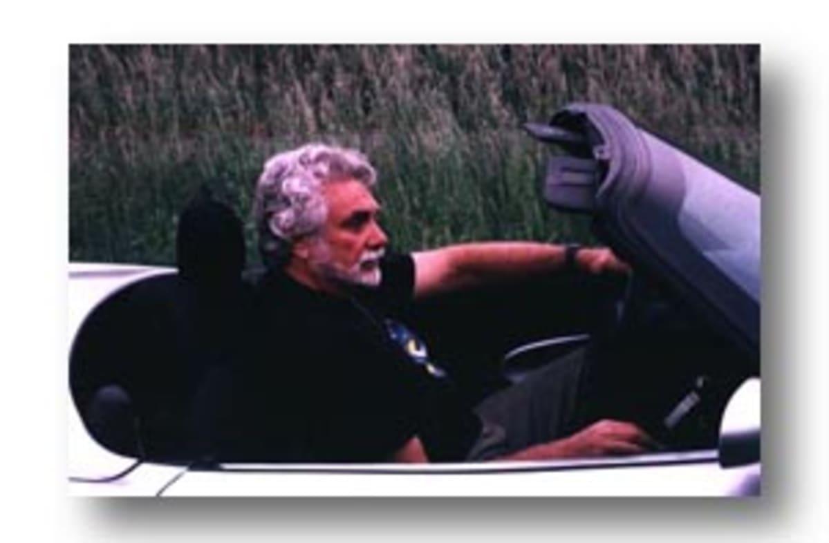 Len Frank behind the wheel