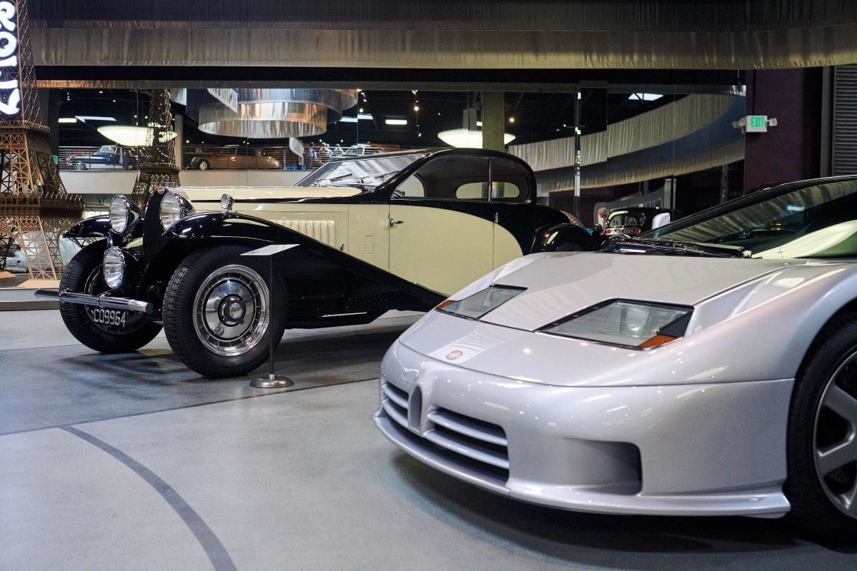 Some of the Bugatti collection at the Mullin Automotive Museum. car museums in los angeles