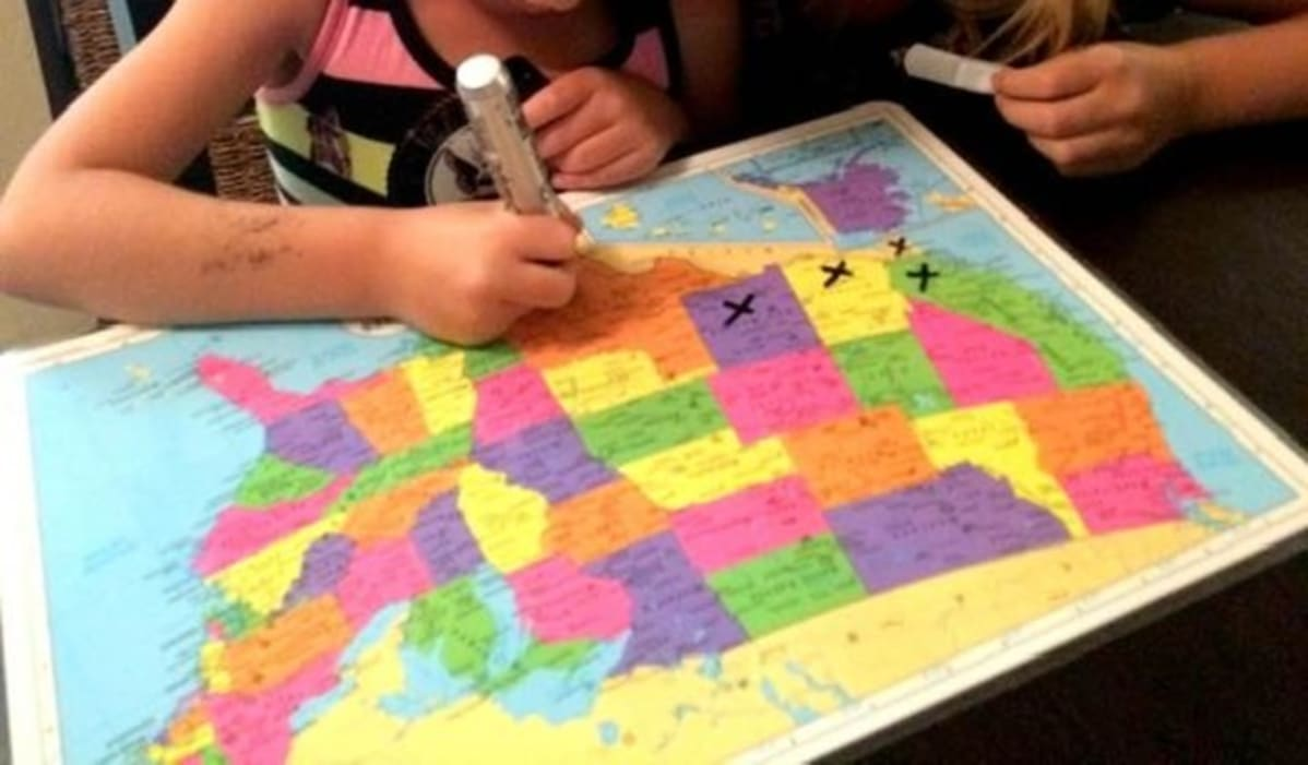 Margo Huizing makes maps for her grandkids so they can follow their grandparents on their travels.