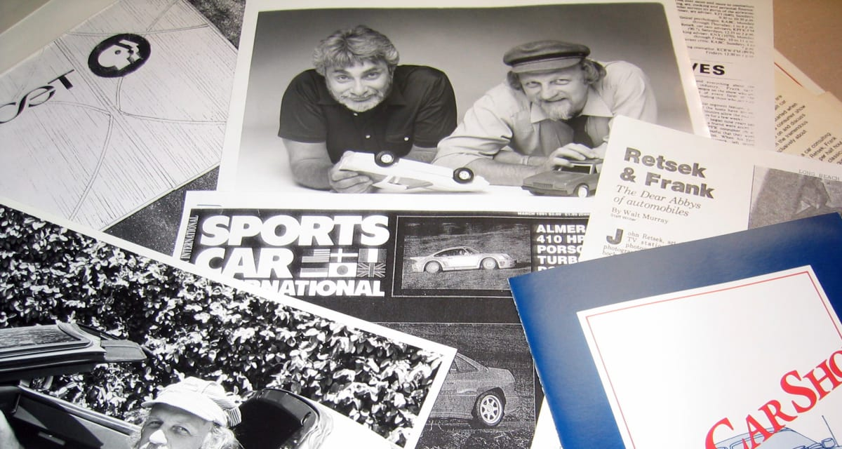 Memorabilia from KPFK's The Car Show, featuring Len Frank and John Retsek, as spread out on John Retsek's studio desk at KCET (photo by Roy Nakano)