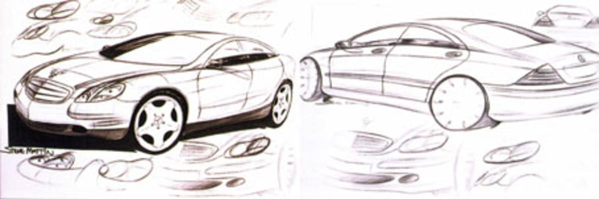 black and white sketch of mercedes benz s-class