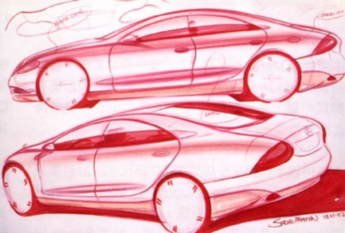 red sketch of the mercedes benz s-class vehicles