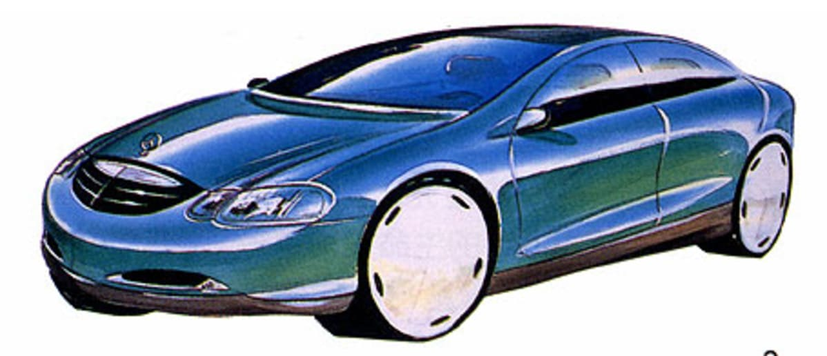 blue sketch of s-class