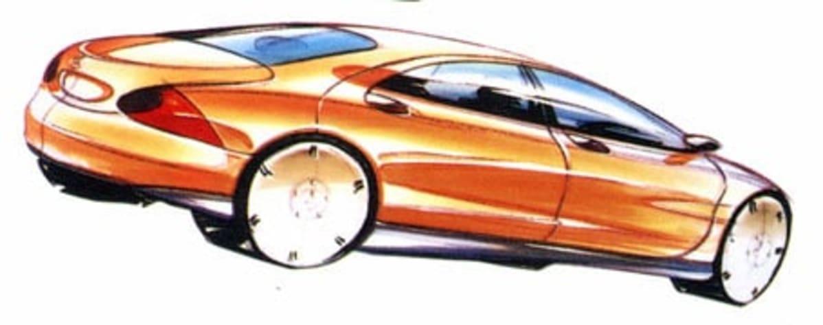 rear ¾ design sketch of s-class