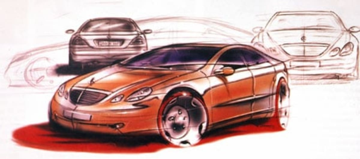 design and inspiration sketch for mercedes benz s-class
