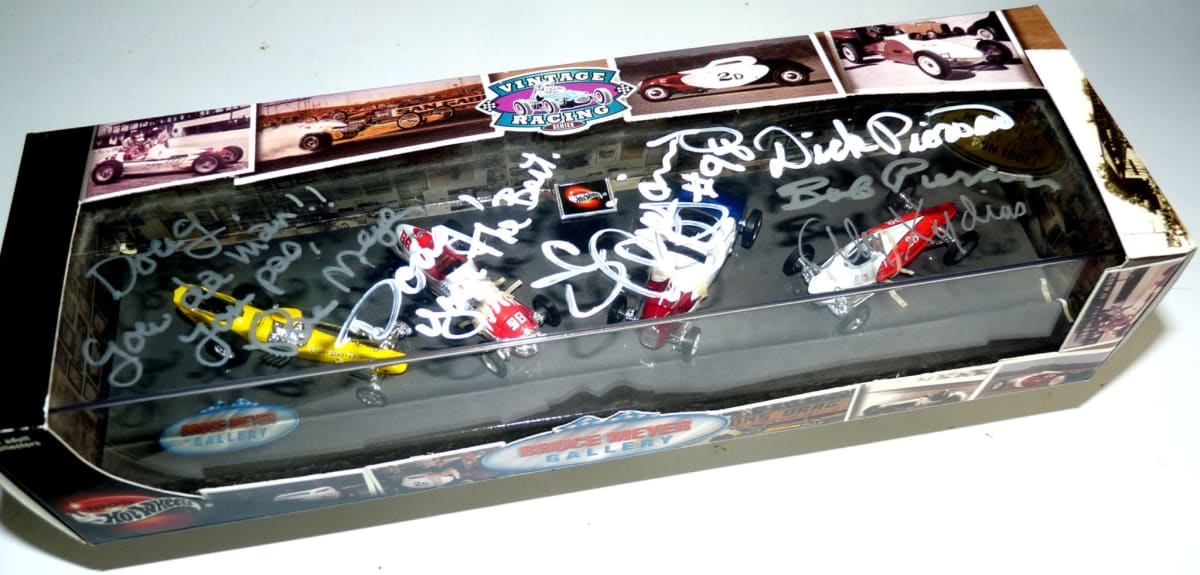 In 2001, Mattel issued a special collection featuring four of Meyer's cars. Meyer signed the box along with J.C.Agajanian, Jr., both of the Pierson Brothers, and Alex Xydias.
