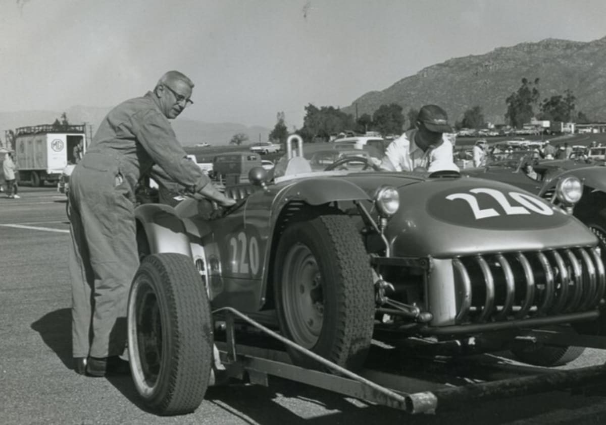 "John ""Bat"" Masterson's Kurtis is decanted for the races at: (looks like Santa Barbara)"