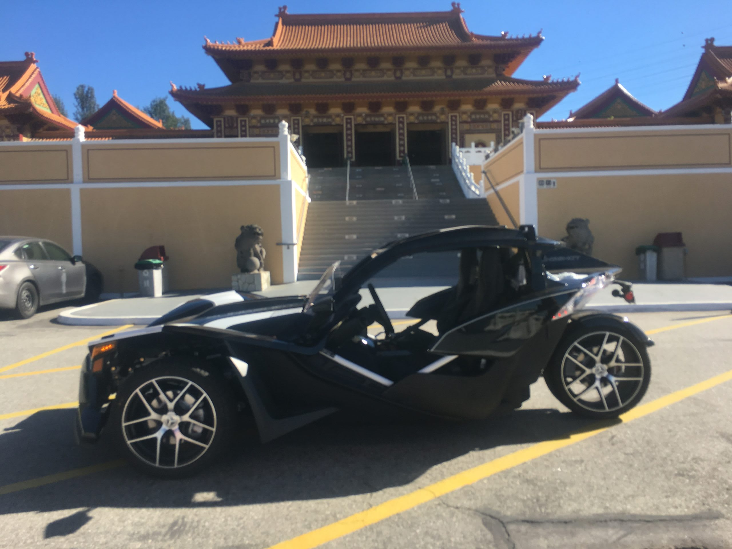Polaris Slingshot Grand Touring in front of the Great Wall of China.. in Los Angeles