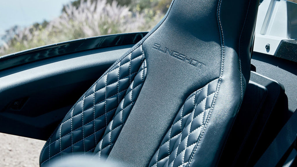 Interior of the Polaris Slingshot Grand Touring stitched leather