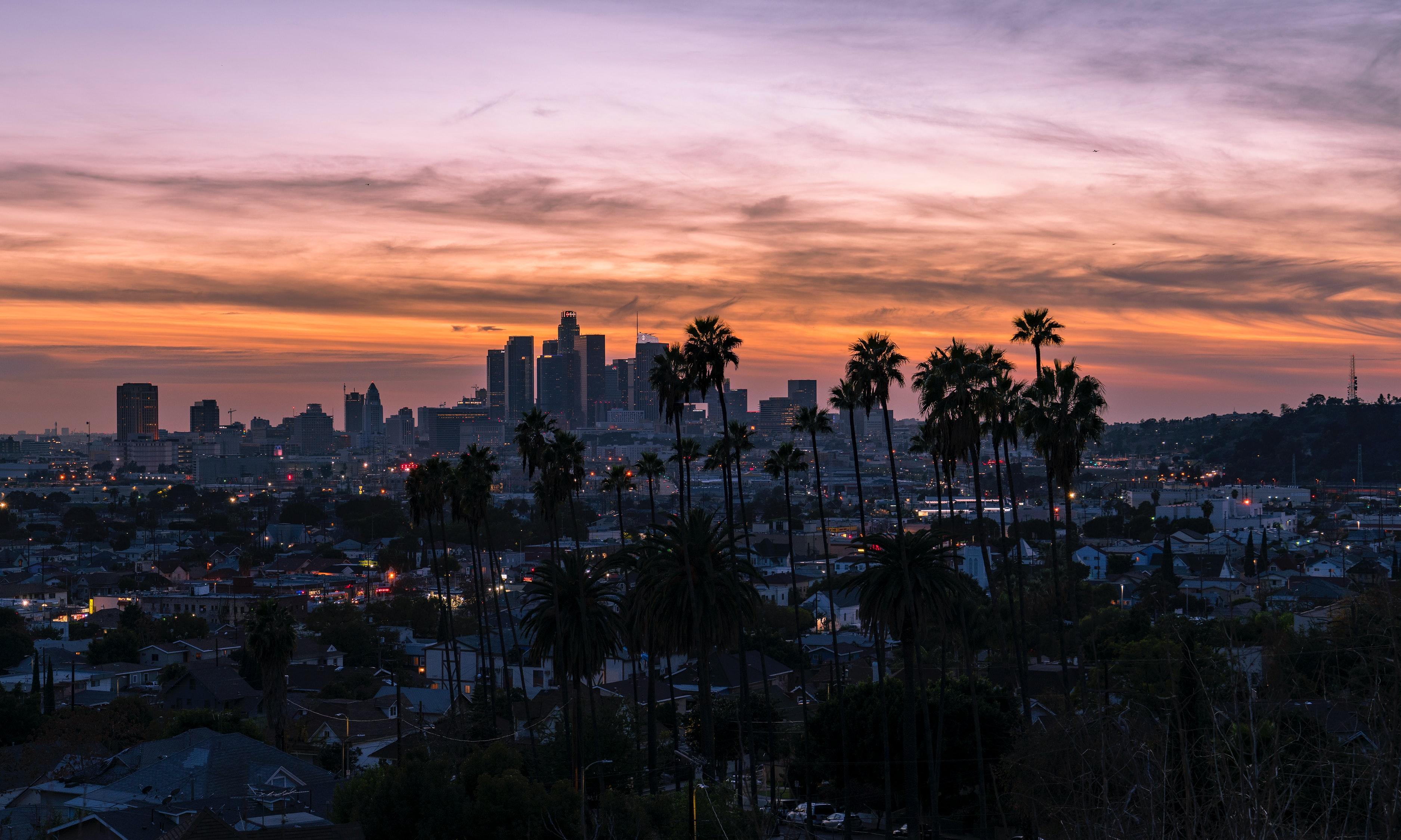 Los Angeles skyline at sunset dusk