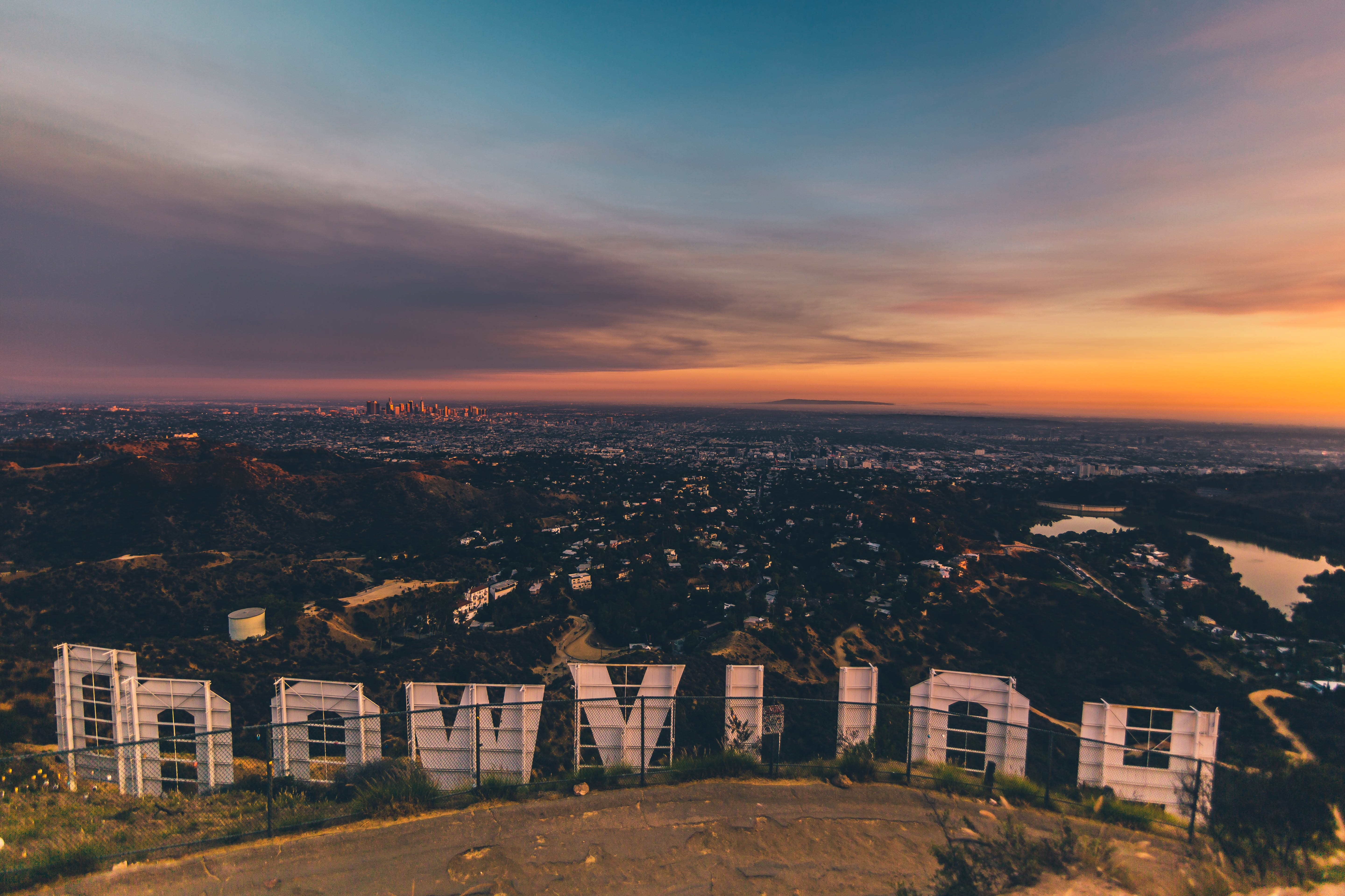 Photo taken from behind the Hollywood sign, with Los Angeles spread out below