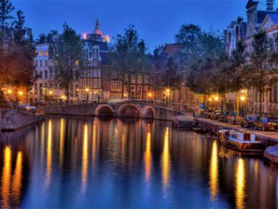 Amsterdam center by night