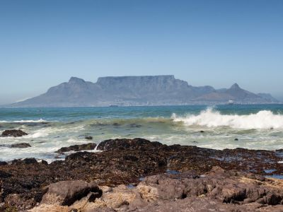 Table Mountain over ocean
