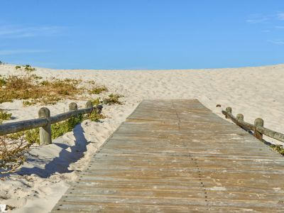 Beach wooden walkway