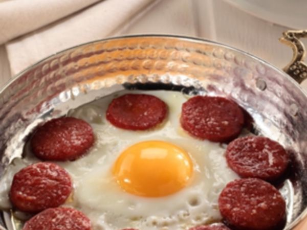 Eggs with Turkish pepperoni